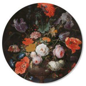 Muurcirkel bloem zwart